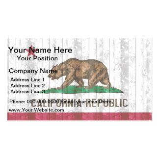 Bandera californiana de madera tarjetas de visita