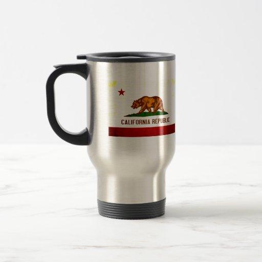 Bandera californiana nerviosa moderna tazas de café