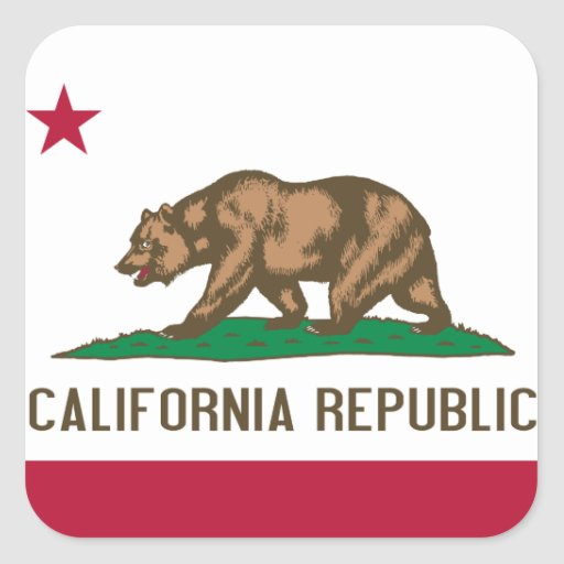 Bandera californiana pegatina cuadrada