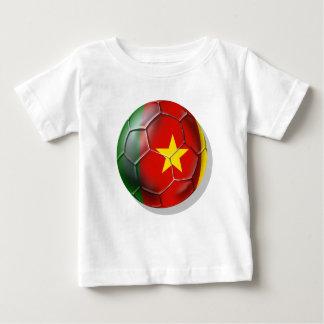 Bandera camerunesa del balón de fútbol del Camerún Remera