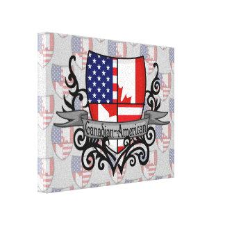Bandera Canadiense-Americana del escudo Impresiones De Lienzo
