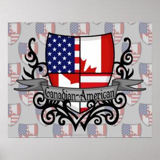 Bandera Canadiense-Americana del escudo Impresiones