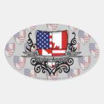 Bandera Canadiense-Americana del escudo Pegatina Óval
