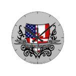 Bandera Canadiense-Americana del escudo Reloj De Pared