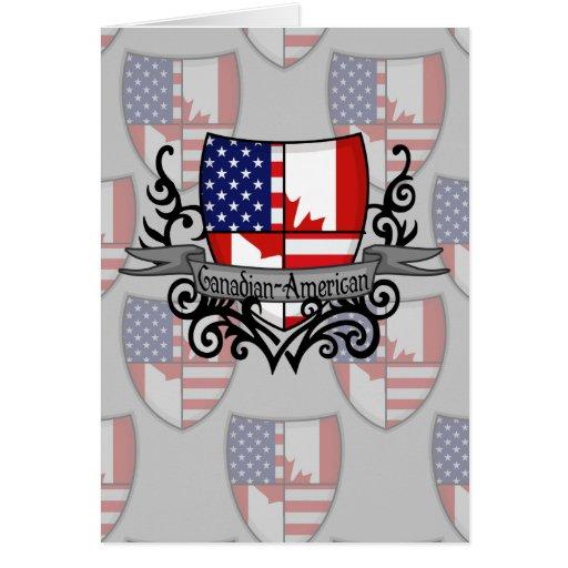 Bandera Canadiense-Americana del escudo Tarjetas