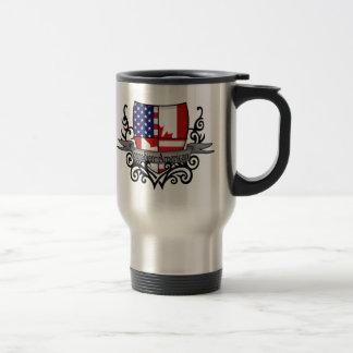 Bandera Canadiense-Americana del escudo Taza De Viaje