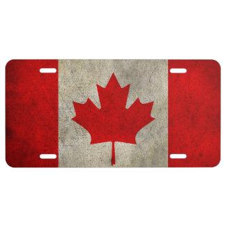 Bandera canadiense antigua de la hoja de arce placa de matrícula