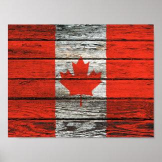 Bandera canadiense con efecto de madera áspero del impresiones