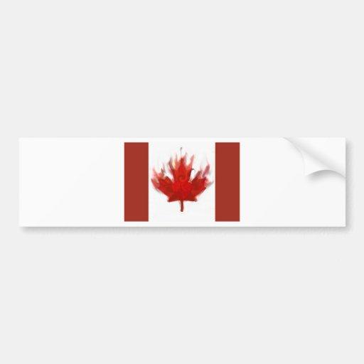 bandera canadiense con el corazón pegatina de parachoque