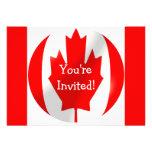 Bandera canadiense con la invitación de la burbuja