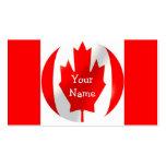 Bandera canadiense con la tarjeta de visita de la