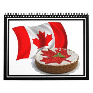 Bandera canadiense con la torta de la hoja de arce calendario