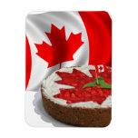 Bandera canadiense con la torta de la hoja de arce iman de vinilo