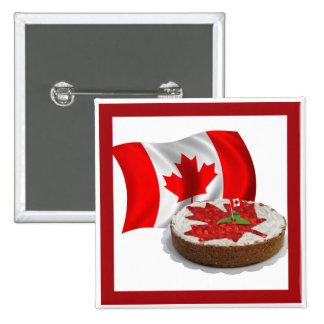 Bandera canadiense con la torta de la hoja de arce pin cuadrado