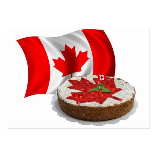 Bandera canadiense con la torta de la hoja de arce tarjeta de visita