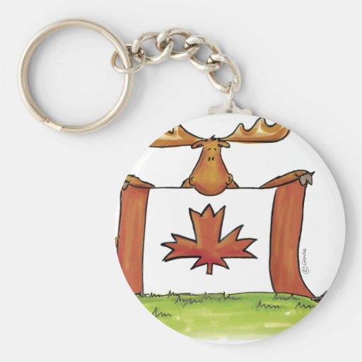 Bandera canadiense con los alces, el castor y el g llaveros