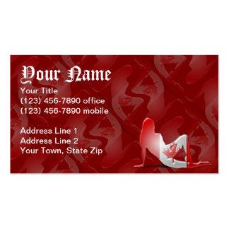 Bandera canadiense de la silueta del chica tarjetas de visita