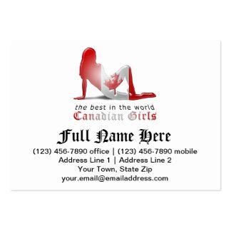 Bandera canadiense de la silueta del chica tarjetas de visita grandes