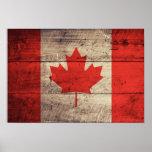 Bandera canadiense de madera vieja impresiones