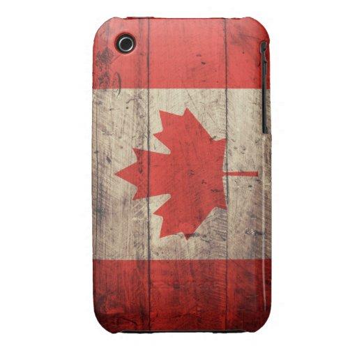 Bandera canadiense de madera vieja iPhone 3 fundas