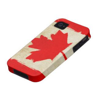 Bandera canadiense del Grunge iPhone 4 Carcasa