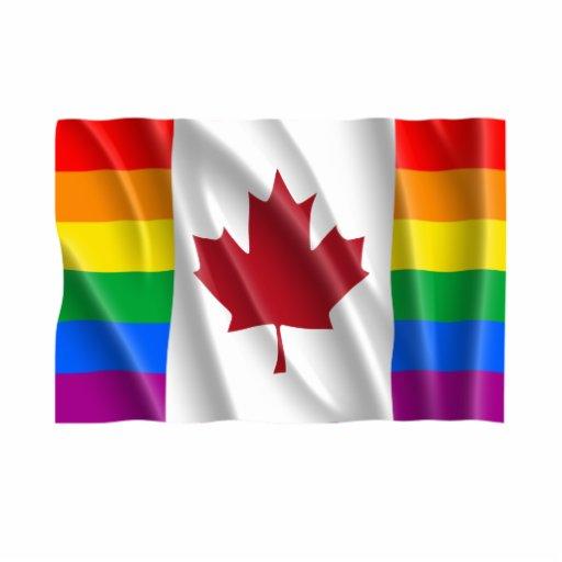 BANDERA CANADIENSE DEL ORGULLO GAY ONDULADA ESCULTURAS FOTOGRÁFICAS