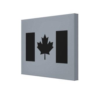 Bandera canadiense en diseño negro impresiones en lienzo estiradas