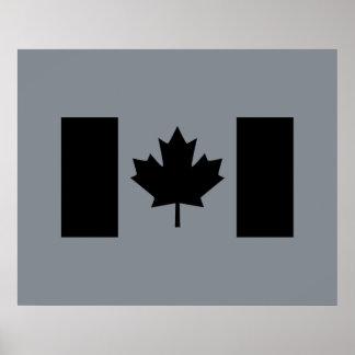 Bandera canadiense en gráfico negro póster
