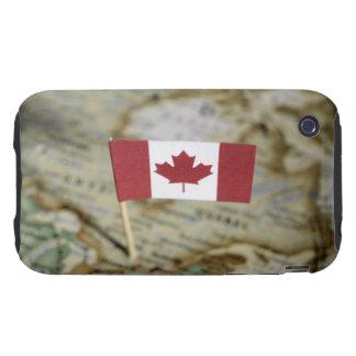 Bandera canadiense en mapa iPhone 3 tough funda