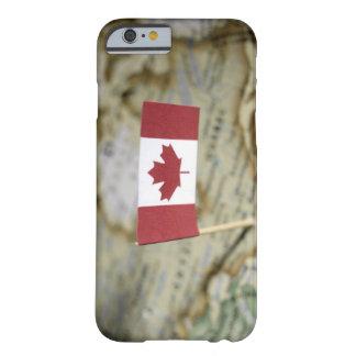 Bandera canadiense en mapa