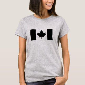 Bandera canadiense en negro playera
