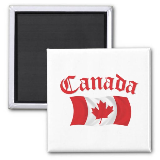 Bandera canadiense imán cuadrado