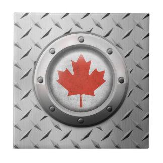 Bandera canadiense industrial con el gráfico de azulejo
