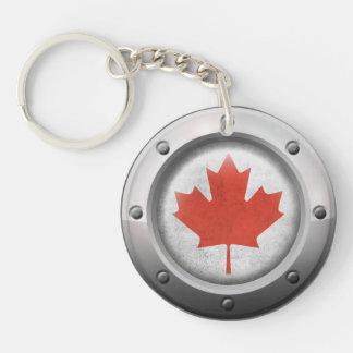 Bandera canadiense industrial con el gráfico de llavero redondo acrílico a doble cara