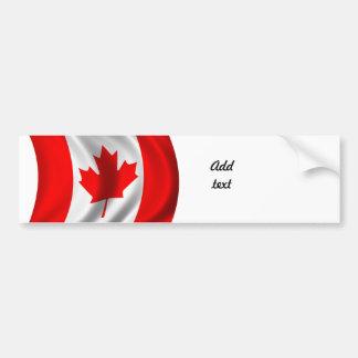 Bandera canadiense que agita pegatina de parachoque