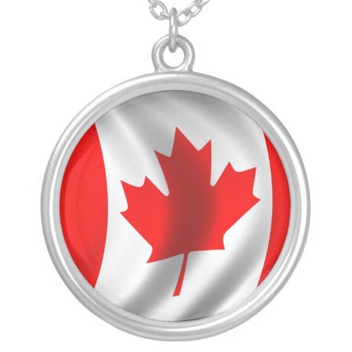 Bandera canadiense que agita colgante redondo