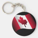 Bandera canadiense que agita llavero personalizado