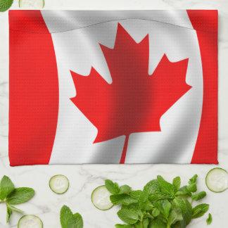 Bandera canadiense que agita toallas de cocina