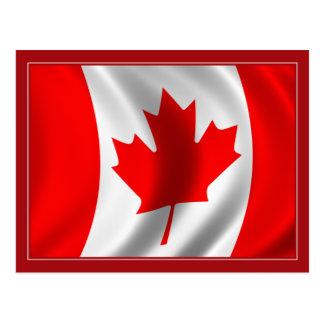 Bandera canadiense que agita tarjeta postal