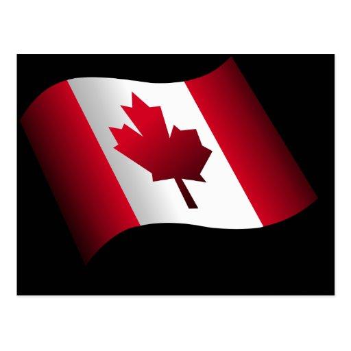 Bandera canadiense que agita tarjetas postales