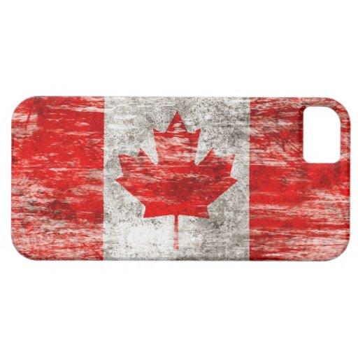 Bandera canadiense rascada y llevada iPhone 5 cobertura