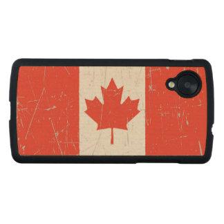 Bandera canadiense rascada y rasguñada funda de nexus 5 carved® slim de arce
