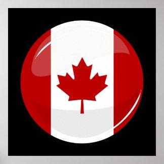 Bandera canadiense redonda brillante impresiones