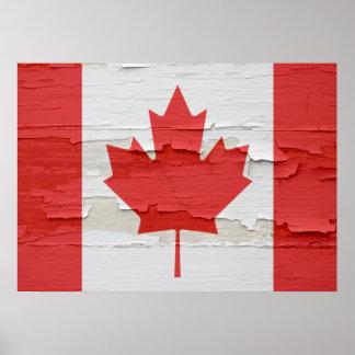 Bandera canadiense resistida impresiones