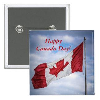 Bandera canadiense roja y blanca del día feliz de  pin cuadrado