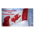 Bandera canadiense roja y blanca del día feliz de tarjetas de visita