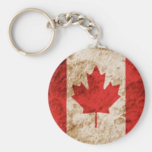 Bandera canadiense rugosa llavero redondo tipo pin