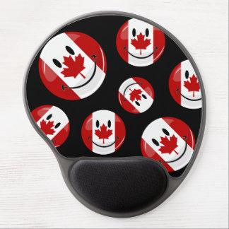 Bandera canadiense sonriente de la ronda brillante alfombrilla gel
