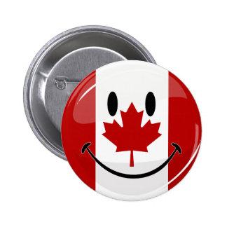Bandera canadiense sonriente de la ronda brillante pin redondo 5 cm