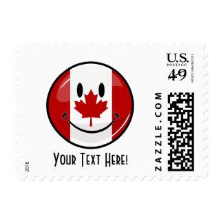 Bandera canadiense sonriente de la ronda brillante sellos